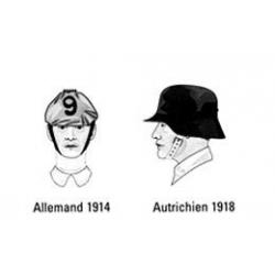 2 têtes armées Empires centraux, WWI, Allemand, Autrichien